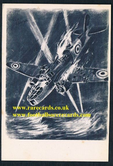 1941 WW2 war art RAF Bristol Blenheim Hans Adolph postcard from fascist Spain